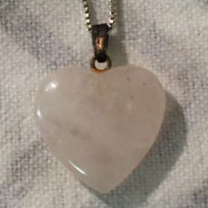 Pink Quartz Heart Pendant Sterling Silver Necklace